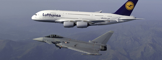 Airbus A380 und Eurofighter Typhoon
