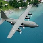 Lockheed Hercules C Mk.1P (C-130K) mit der Kennung 8T-CA überfliegt die Ortschaft Weyregg. Die Heckklappe ist bereits geöffnet. © Gorub / BMLVS