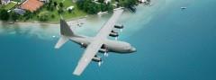 Lockheed Hercules C Mk.1P (C-130K) mit der Kennung 8T-CA überfliegt den Attersee © Gorub / BMLV