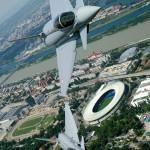 Nicht einmal 12 Monate später sichern die Typhoons die Fussball-EM 2008. Hier eine Rotte über dem Ernst-Happel-Stadion in Wien © Bundesheer