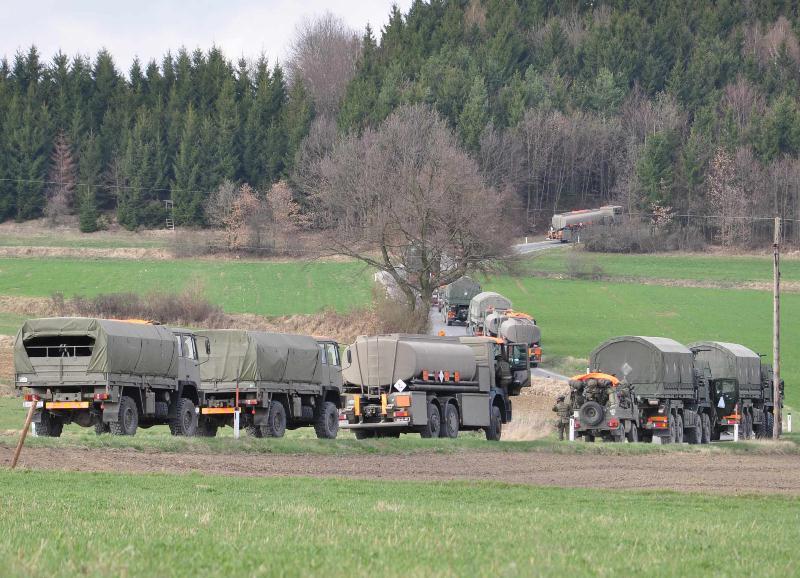 Logistik-Konvoi des Bundesheeres während der Evaluierungsübung EVALEX im März 2012 © Bundesheer