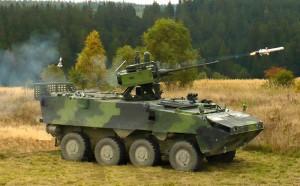 Tschechischer Radpanzer Pandur feuert eine SPIKE LR Mehrzweck- / Panzerabwehrlenkwaffe ab © ACR