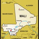 Karte von Mali mit der Hauptstadt Bamako und dem religiösen Zentrum Timbutku