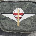"""Das Jagdkommandoabzeichen mit Schwert und Fallschirm wird oft als die """"Jagdkommando-Schwingen"""" bezeichnet"""