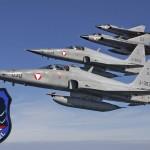 Northrop F-5E Tiger II und Saab J-35OE Draken. Bis auf Draken 03 alle von der 2. Staffel aus Graz © Bundesheer
