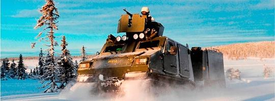 Hägglund Bandvagn vom Typ BvS10 im Tiefschnee © BAE Systems
