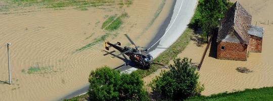 Alouette III des Bundesheeres im Hochwassereinsatz in Bosnien-Herzegowina © Bundesheer