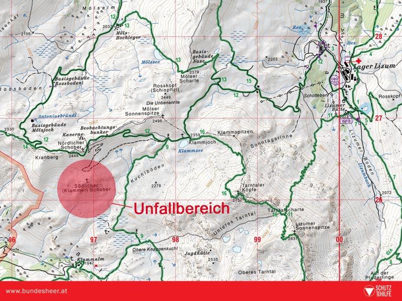 Die Absturzstelle auf der Karte © Bundesheer