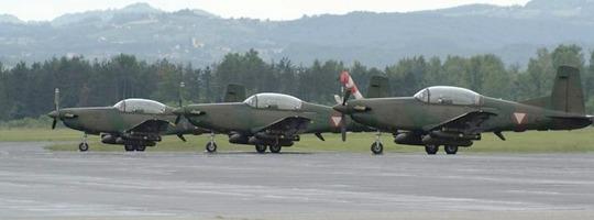 Drei Pilatus PC-7 des Bundesheeres in Slowenien © Slow. Streitkräfte