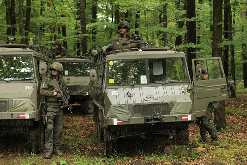Österreicher mit ihren Pinzgauer-Fahrzeugen © US Army - 1/1 CD