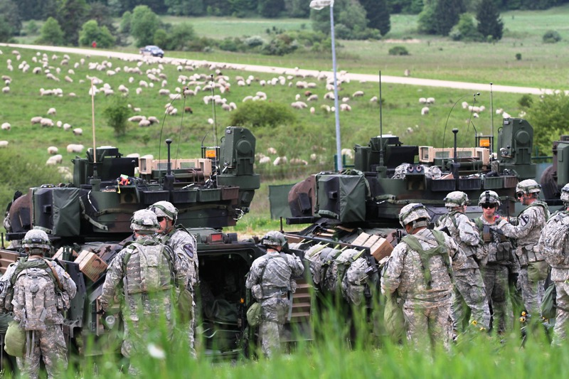 Den Schafen scheint der US Aufmarsch nicht zu stören © US Army - 1/1 CD