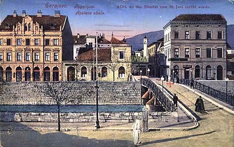Der Tatort auf einer zeitgenössischen Postkarte vom anderen Ufer aus