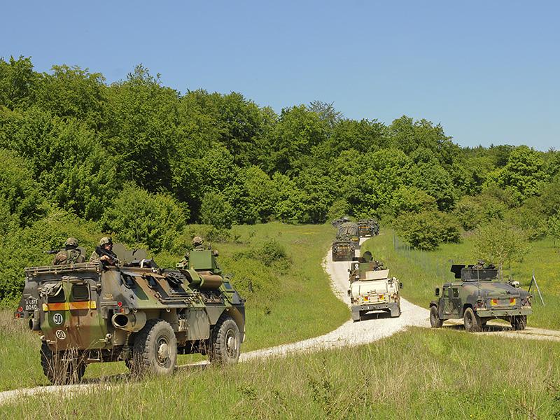 Konvoi aus slowenischen, französischen und amerikanischen Fahrzeugen © US Army JMTC