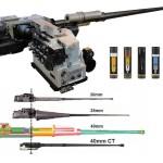 40 mm CTAS – Cased Telescoped Armament System. Beachte die kompakte Bauweise der Waffe und die zylindrische Munition © CTA International