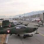 """Am Flughafen Innsbruck wurden 5x PC-7 """"Abfangjäger"""" und 2x PC-6 als fliegende Funkrelaisstationen stationiert © Bundesheer"""