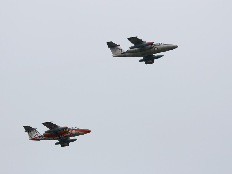 Saab 105 Oe - ihr Luftangriff wurde pyrotechnisch simuliert © Doppeladler.com