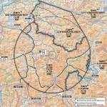 Temporäre Flugbeschränkungszone um Davos mit einem Radius von ca. 45 Kilometern (Temporary Restricted Area)