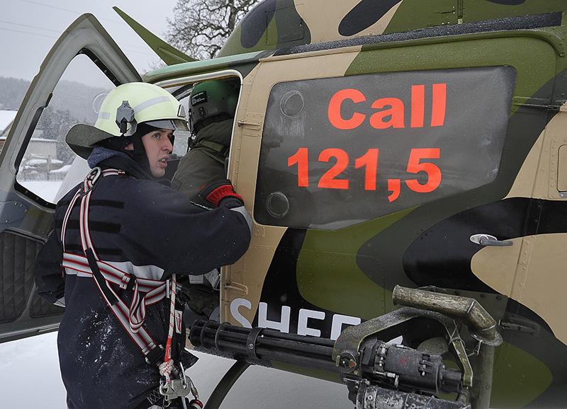 "Das ""Emergency Response Team Air"" (ERTA) am ""Unfallort"" © Bundesheer"