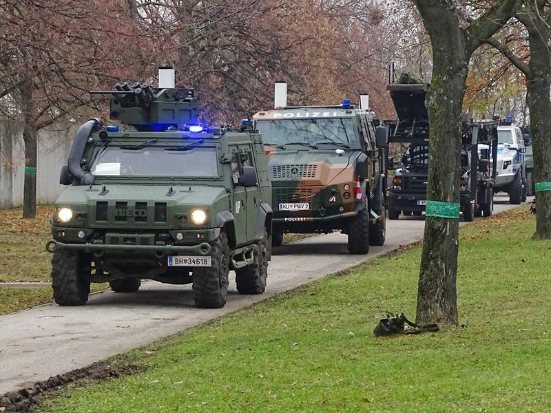 Husar des Bundesheeres, dahinter der PMV SURVIVOR II und ein MARS-Fahrzeug © LPD NÖ