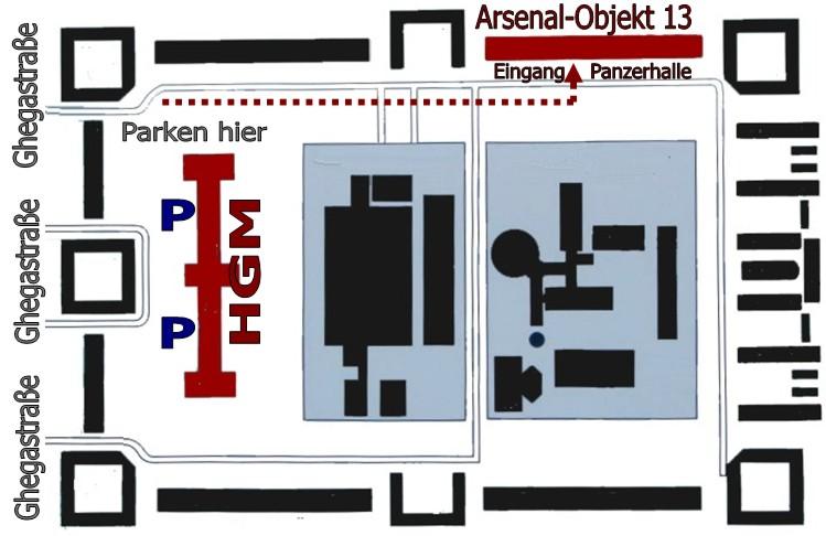Lageplan Panzerhalle im Wiener Arsenal
