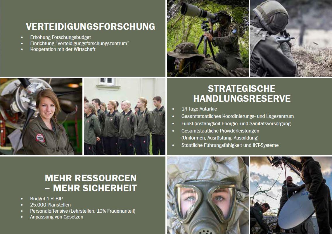 Positionspapier Generalstab - Teil 4 - Verteidigungsforschung, strategische Handlungsreserve, mehr Ressourcen