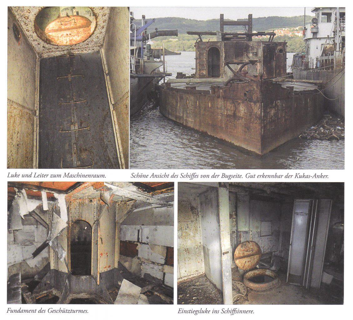 """Bilder vom Zustand des Rumpfes und der Innenräume © J.Kubalek, """"SMS Bodrog"""", in OEM 54/2014 S.23 Foto: B. Bosanc"""