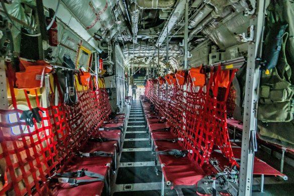 Der Innenraum der Lockheed Hercules C Mk.1P (C-130K) ist vorbereitet © Bundesheer