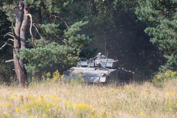 Schützenpanzer brechen aus einem Waldstück hervor © Doppeladler.com