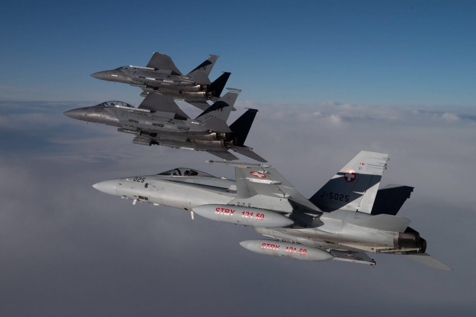 YORKNITE 2020: Schweizer F/A-18 und F-15E der US Air Force üben über der Nordsee © 48th Fighter Wing US Air Force