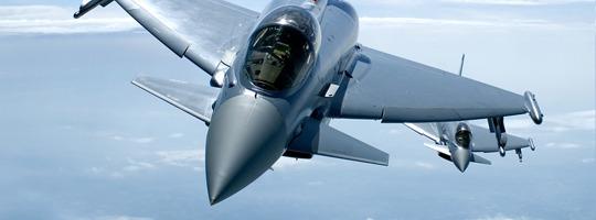 Eine Rotte Eurofighter Typhoons im Luftpolizeidienst über Österreich © Bundesheer