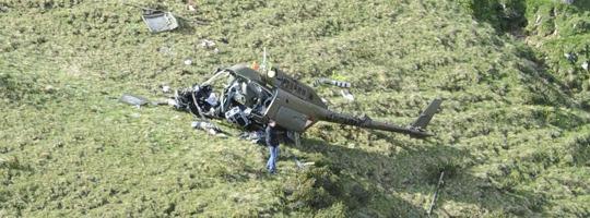 Wrack des verunglückten Bell OH-58B Kiowa 3C-OG an der Absturzstelle © Bundesheer