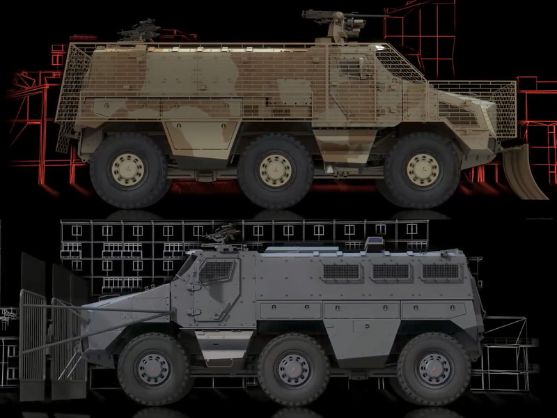 Oben: Höchste Schutzstufe mit Käfigpanzerung gegen RPG. Unten: Peacekeeping © Nexter