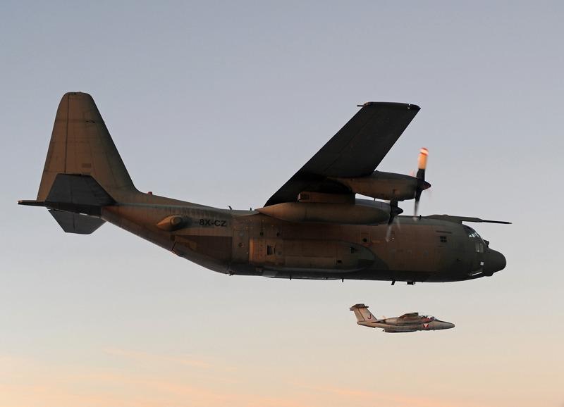 Das Erreichen der 8X-CZ des heimischen Luftraumes wurde gleich für eine Abfangübung genutzt © Bundesheer