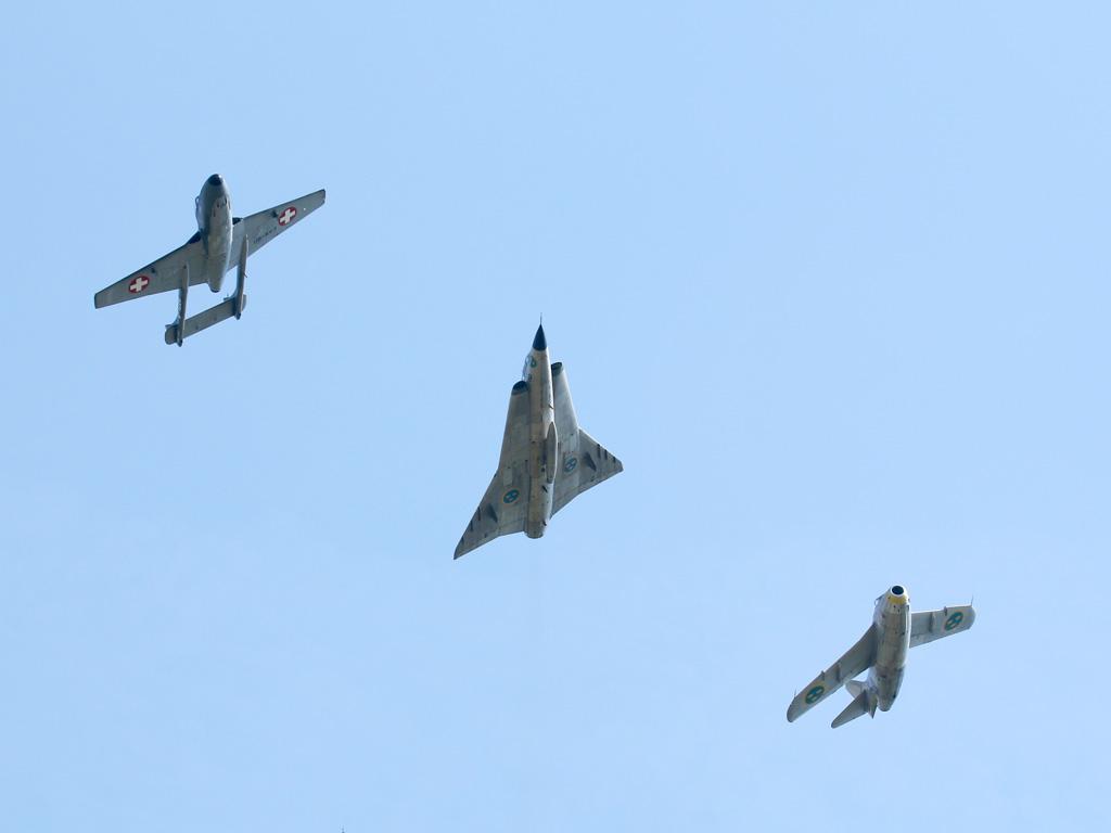 De Havilland Vampire, Saab Draken und Saab Tunnan © Doppeladler.com