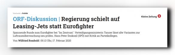 """Artikel """"Regierung schielt auf Leasing Jets statt Eurofighter"""" - Kleine Zeitung"""