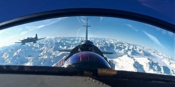 Pilatus PC-7 über den winterlichen Alpen © Bundesheer